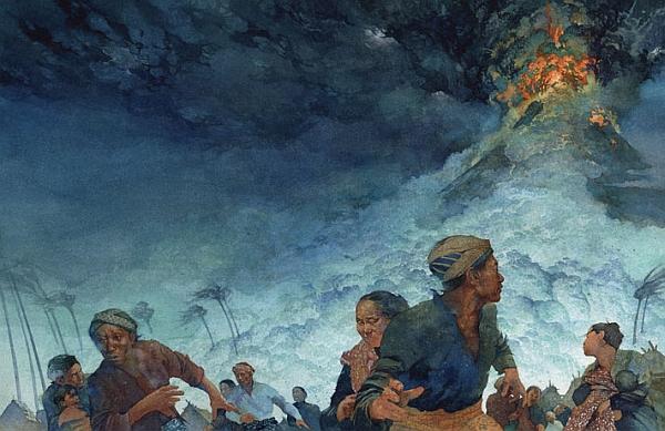 История развития велосипеда. Извержение вулкана Тамбора в 1815 году (рис. Грег Харлин).